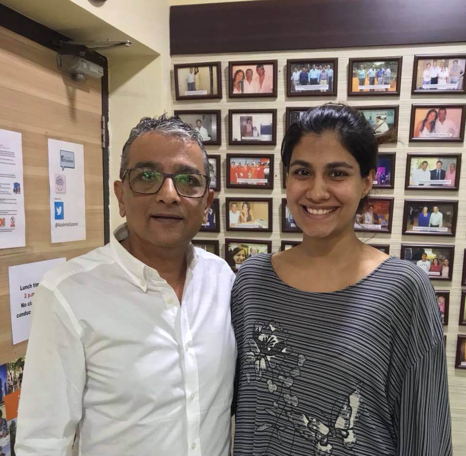 "Dinesh Govindani with Shreya Dhanwanthary the ""Ladies Room "" web series star and student of our center"