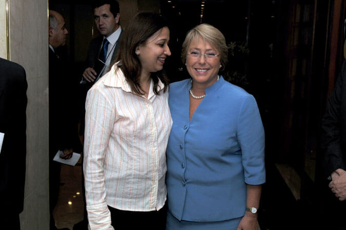 Mrs. Vidya Govindani with Her Excellency Dr. Michelle Bachelet. Honorable President of Chile