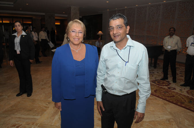 Mr. Dinesh Govindani with Her Excellency Dr. Michelle Bachelet. Honorable President of Chile