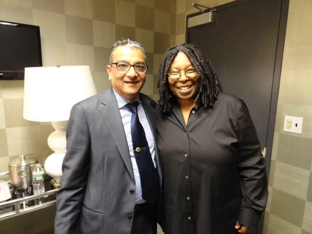 Mr. Dinesh Govindani with Whoopi Goldberg, one of the hosts for The View and former actress