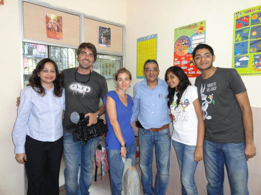 The Govindani family with Cristina and Jesus of the Spanish TV channel Cuatro Canal from the program Conexion Samanta at Academia De Espanol