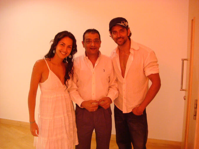 Mr. Govindani with Barbara Mori and Hritik Roshan for the movie Kites