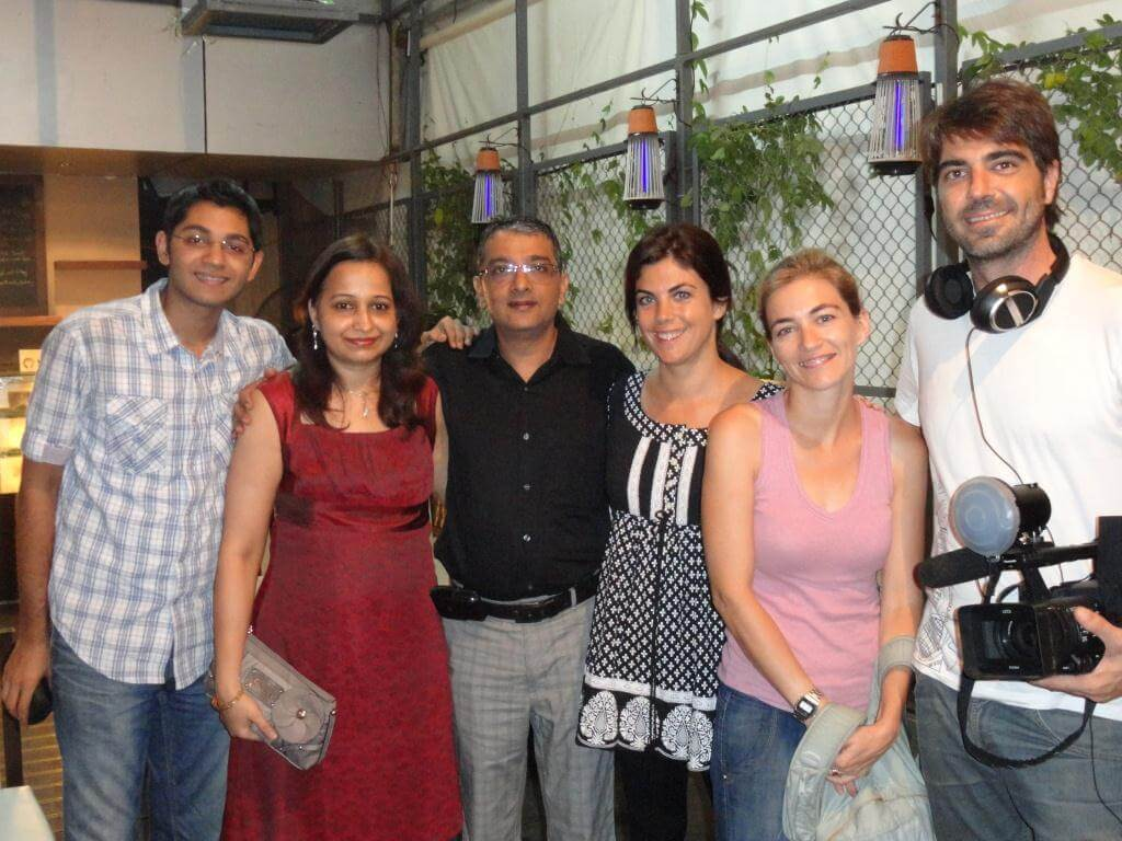 The Govindanis with Samanta Villar,host of the Spanish TV program Conexion Samanta