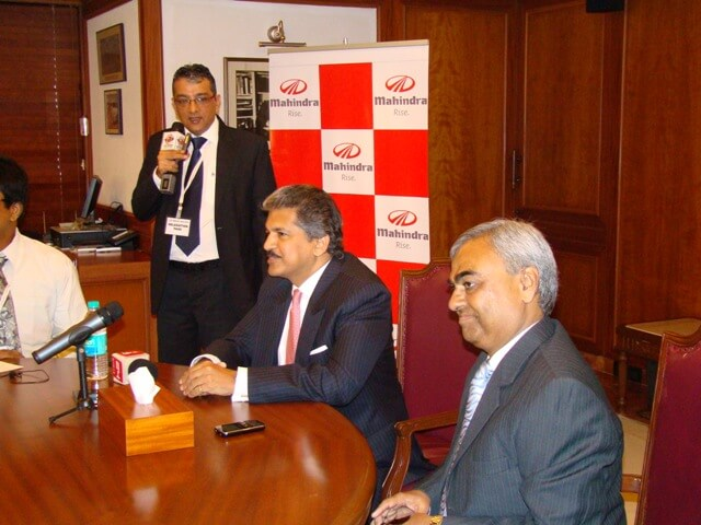 Mr. Govindani interpreting for Mr. Anand Mahindra at the international launch of Mahindra Genio
