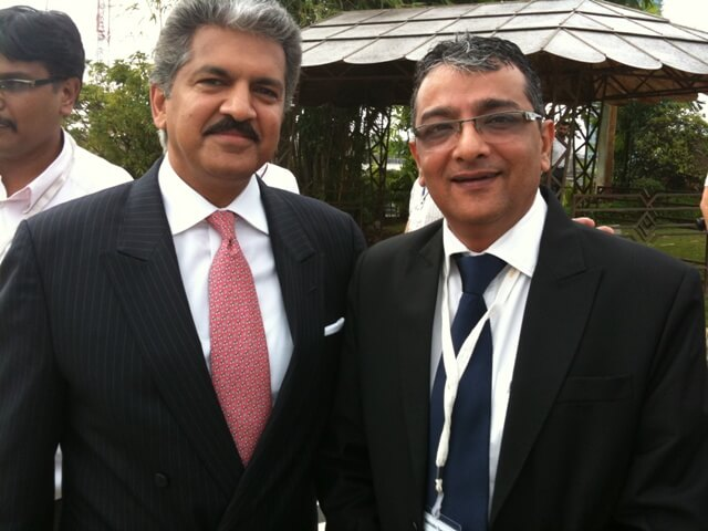 Mr. Govindani with Mr. Anand Mahindra of Mahindra Rise at the international launch of Mahindra Genio