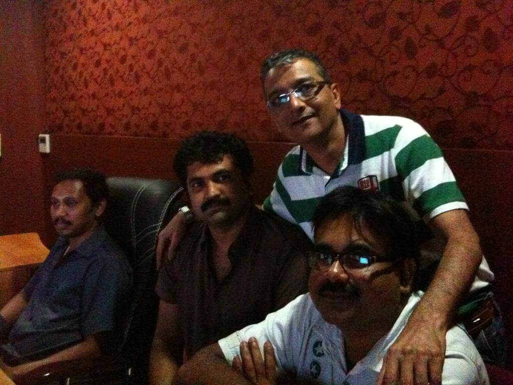 Mr. Govindani with the executive producer-Mr. Naaseem and assistant director-Mr. Raghupayhi of the Malayalam film Spanish Masala in Cochin
