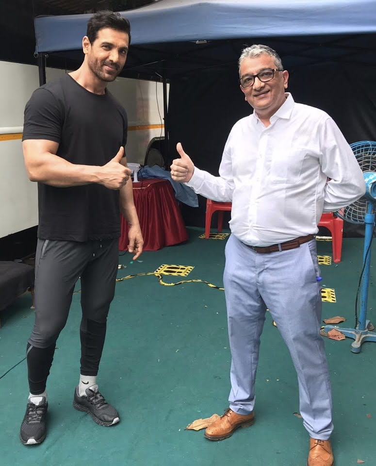 Mr. Dinesh Govindani assisting bollywood actor John Abraham with Spanish for an ad shoot