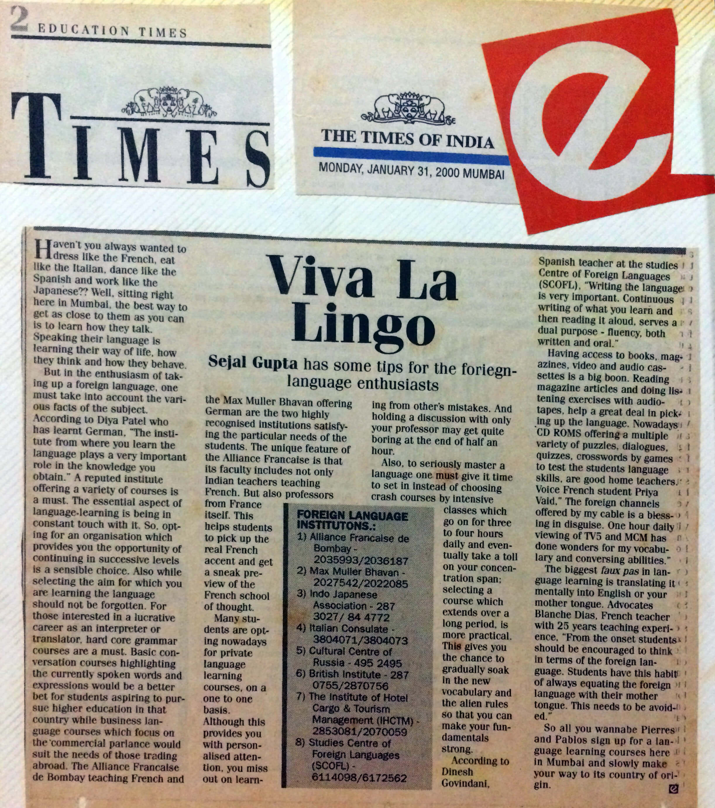 Times of India - Viva La Lingo